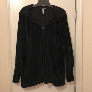 J. Jill Pure Jill Black velour XL hooded jacket